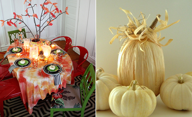 Tie dyed fall tablecloth,corn husk pumpkin