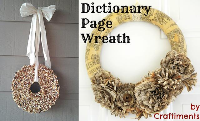 Birdseed wreath,book page wreath