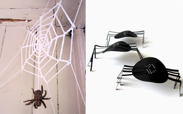 Crocheted spider's web,paper spiders