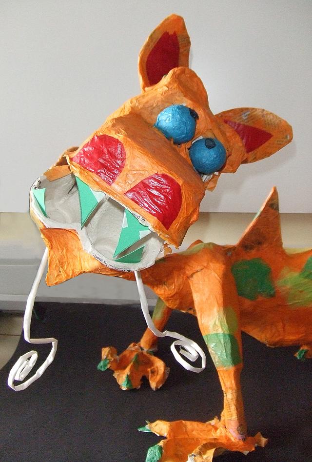 Paper Mache dragon close up