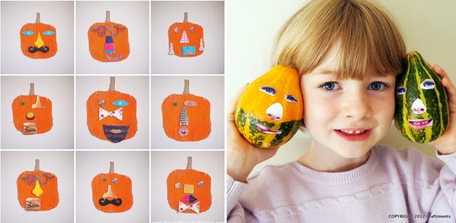 Cardboard pumkin faces,gourd faces