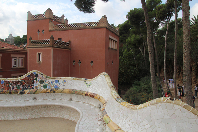 Barcelona Park Guell Mosaic bench curved
