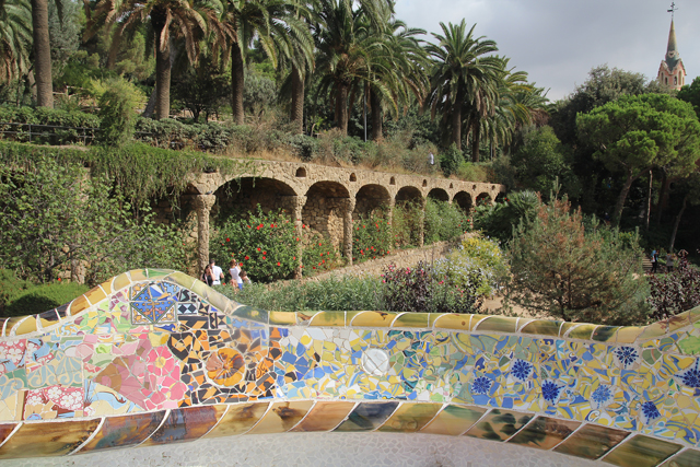 Barcelona Park Guell bench with park