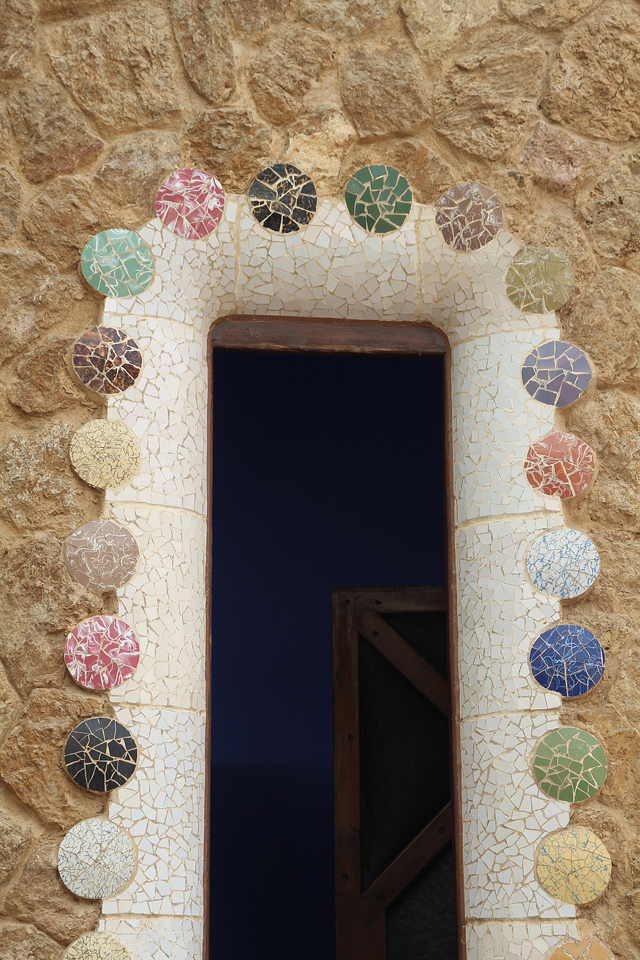 Barcelona Park Guell Gate House mosaic