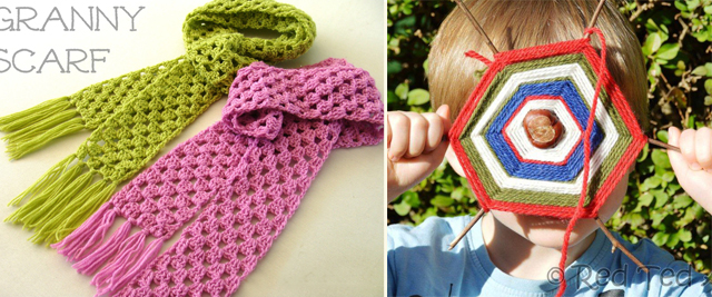 Granny scarf,g-d's eyes with chestnuts