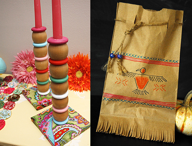 Candle sticks from crib parts, paper bag indian pouch