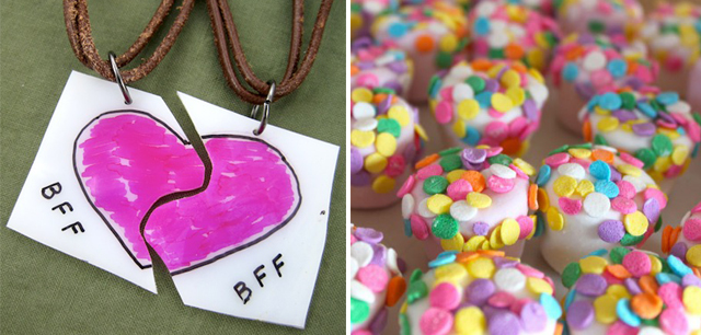 Best friend shrinky dink necklace, decorated marshmellows