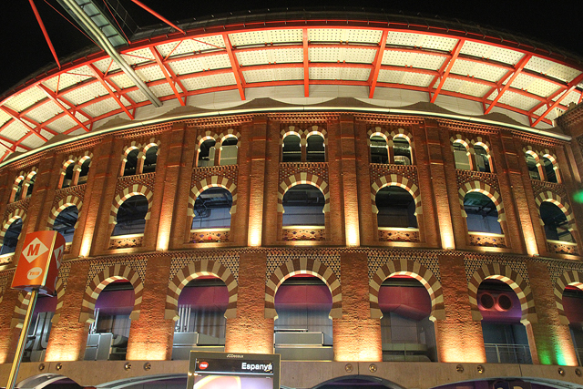 Barcelona magic fountain old stadium shopping center