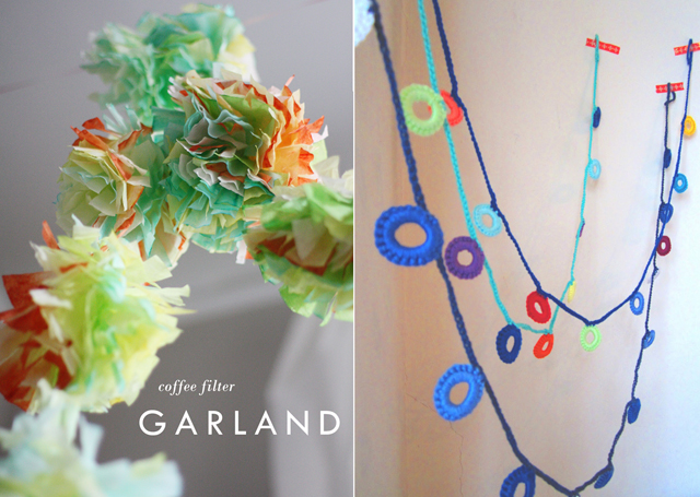 Coffee filter garland, crocheted circles garland