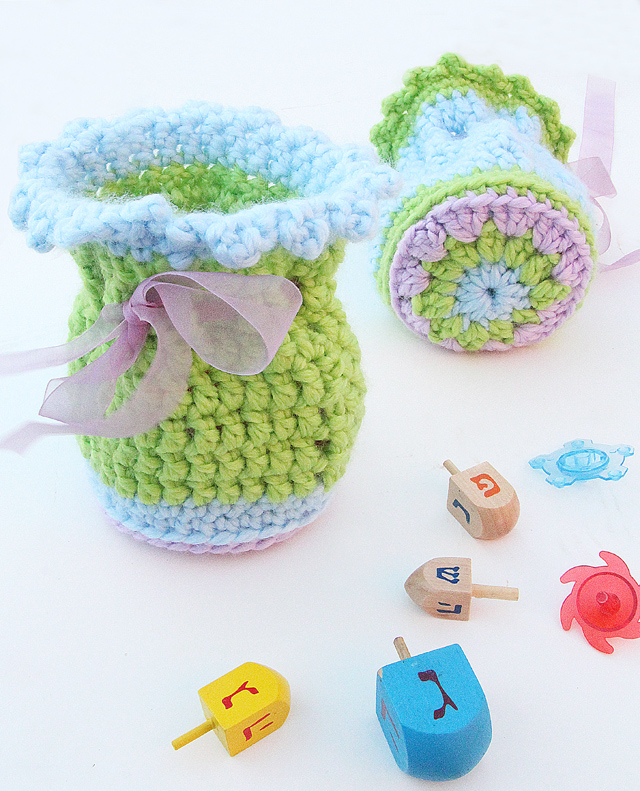Crocheted Gift Pouch With Medallion Granny Base