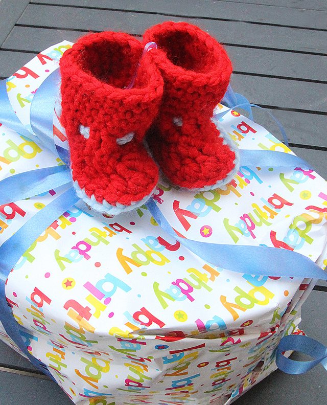 Crocheted Baby bootie gift topper