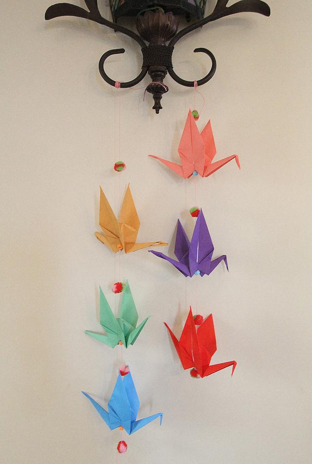 Origami Crane Mobile With Pom Pom