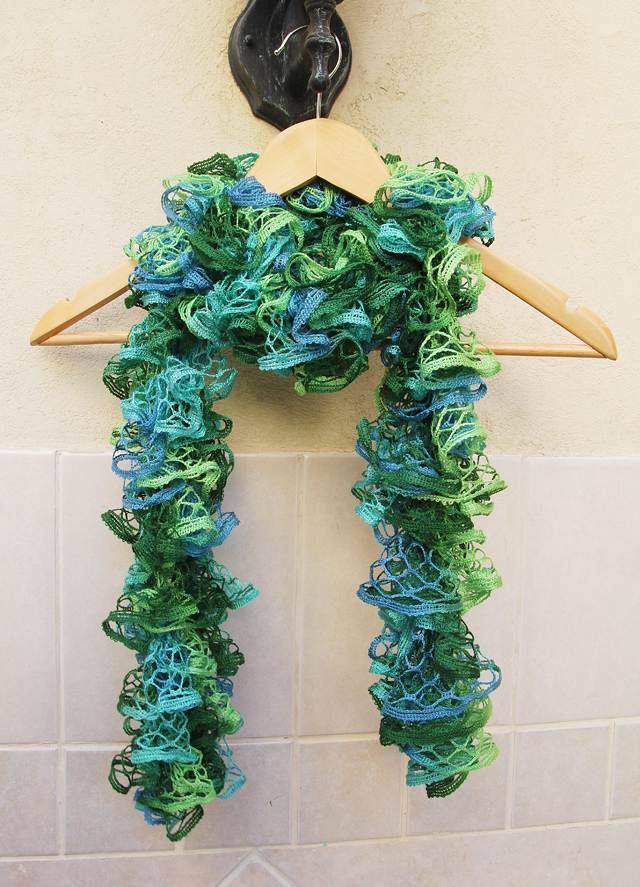 Ruffled Scarf Knit With Mesh Yarn