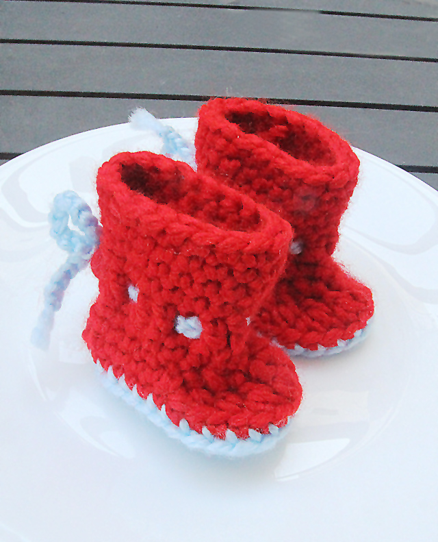 Crochet Ankle Tie Baby Booties