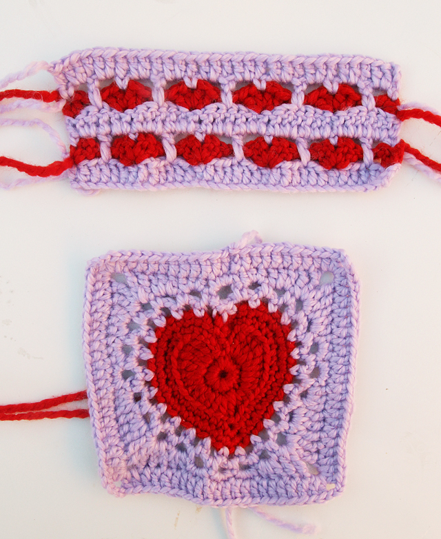 Crocheted Hearts Test Swatches