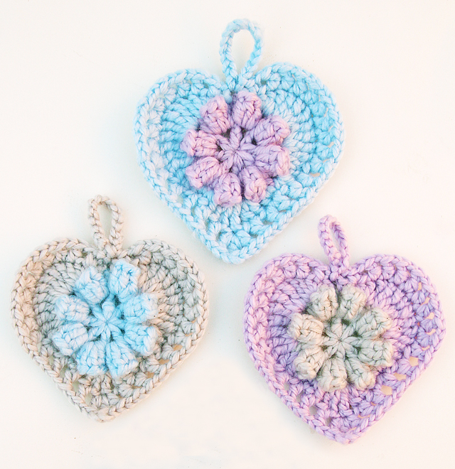 Crocheted Heart With flower center