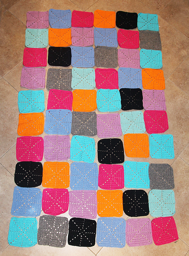 Crocheted Starbust Square Afghan layout