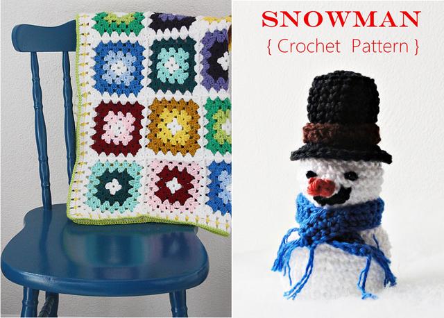 Granny unisex baby blanket, crocheted snowman