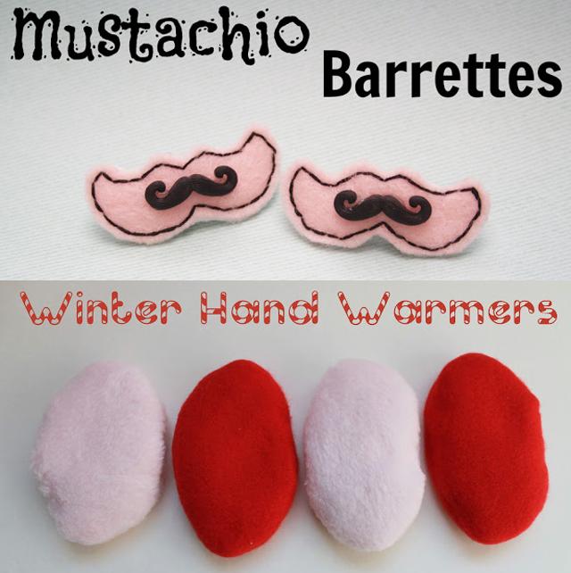Mustache Barrettes,rice hand warmers