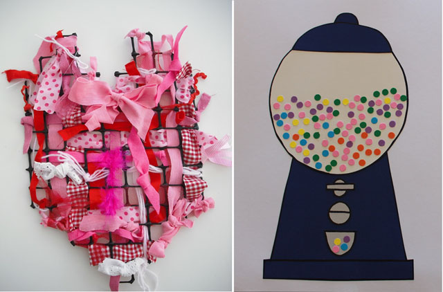 Woven heart,gumball machine with stickers