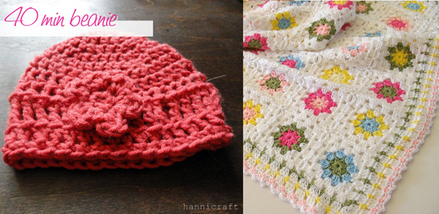 Crocheted beanie,baby blanket