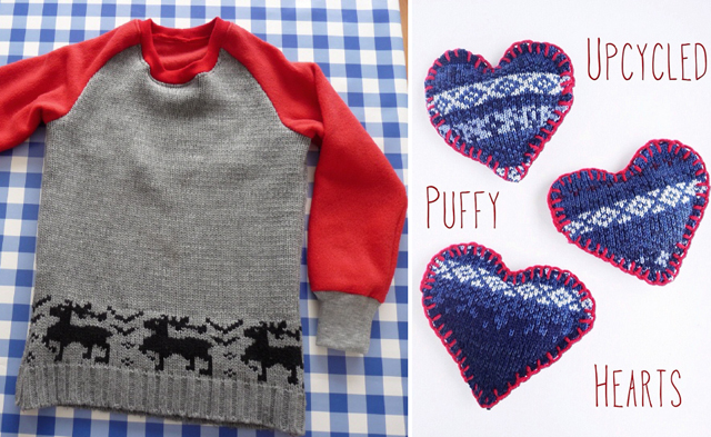 Upcycled sweater hearts, and vest revamp