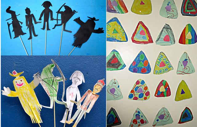 Purim Hametaschen craft,stick puppets