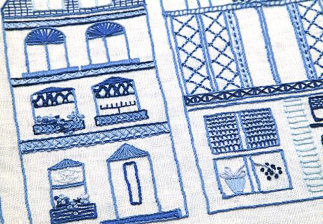 Embroidery Dutch Canal Houses close up