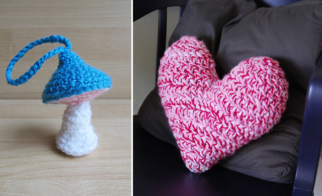 Crocheted heart pillow,amigurumi mushroom