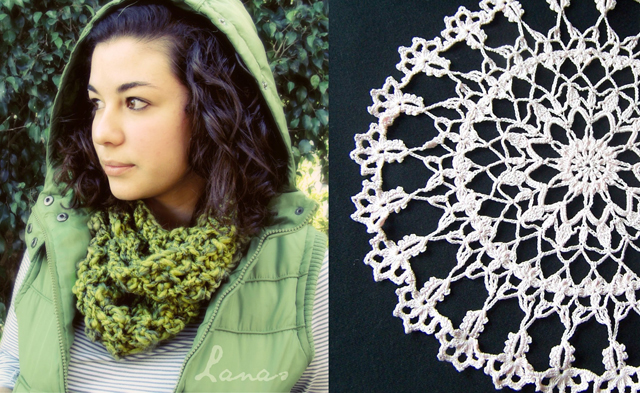 Crocheted chunky cowl,doiley