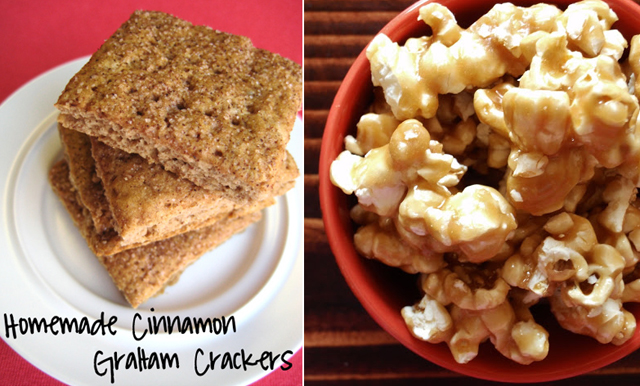 Homemade graham crackers,caramel popcorn