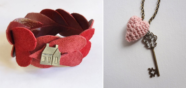 Leather hearts bracelet,crocheted heart pendant