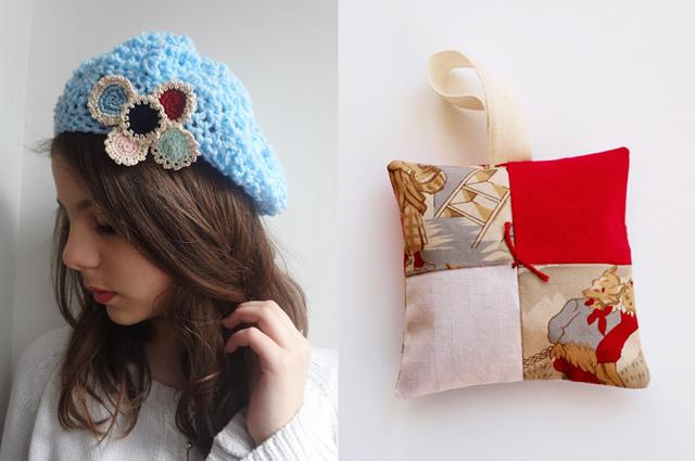 Slouchy crocheted beret,patchwork sachet