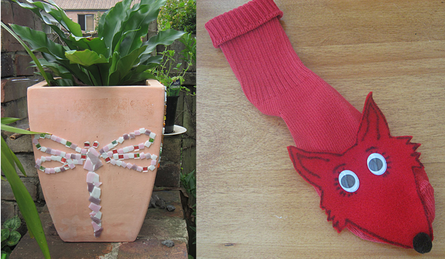 Kids mosaic planter,fox in socks sock puppet