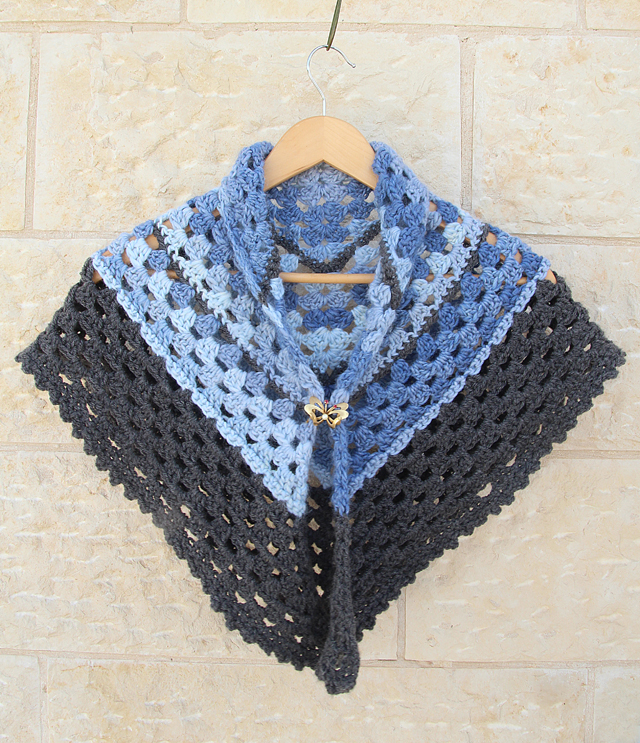 Crocheted Triangular Granny Scarf