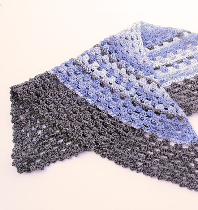 Crocheted Triangular Granny Scarf folded
