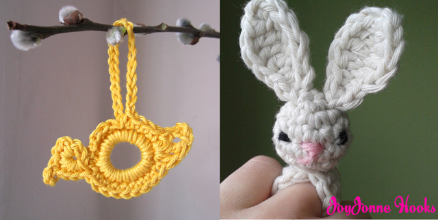 Crocheted bunny ring,crocheted bird ornament