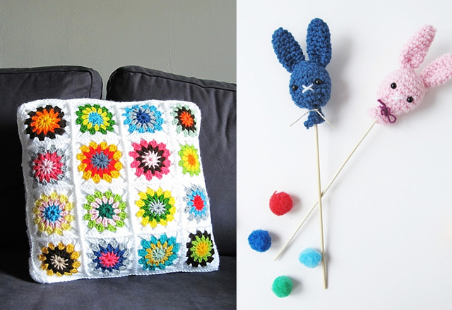 Granny pillow,bunny head sticks