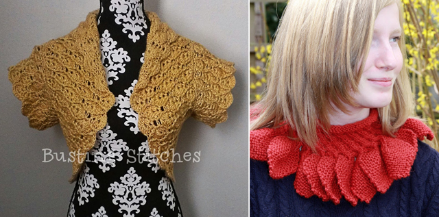 Crocheted shrug pattern,knit leaves cowl