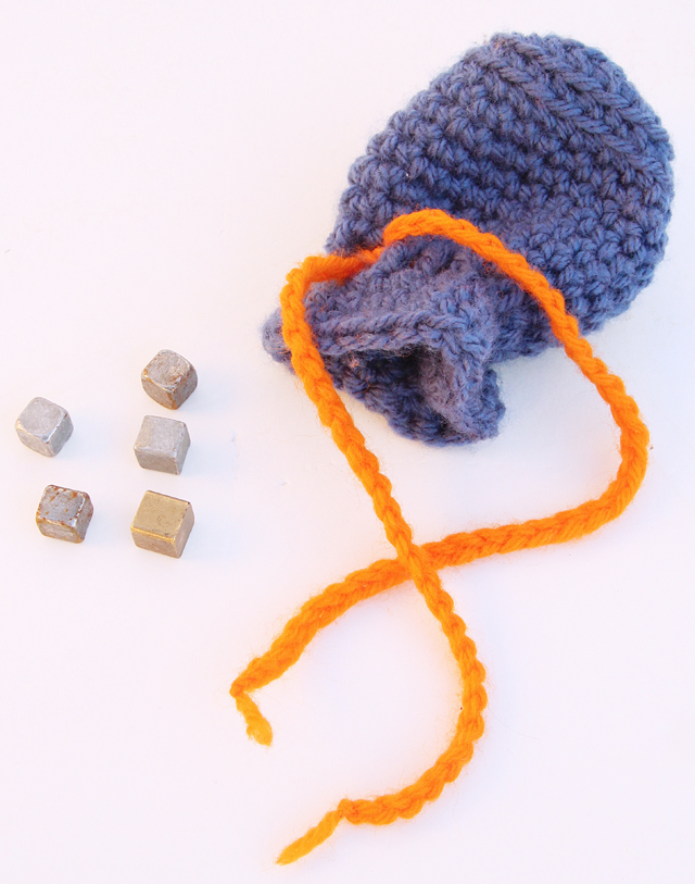 Crocheted Tiny Pouch For Five Rocks