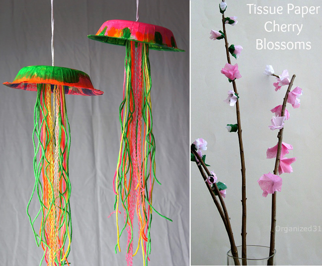 Jellyfish kids craft,cherry blossom crft