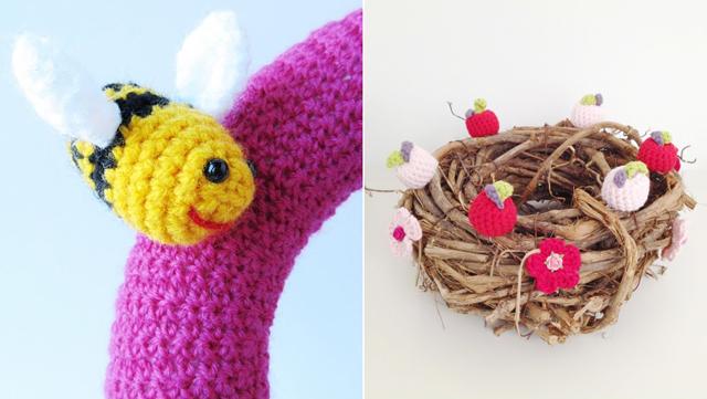 Amigurumi bee,spring nest crocheted