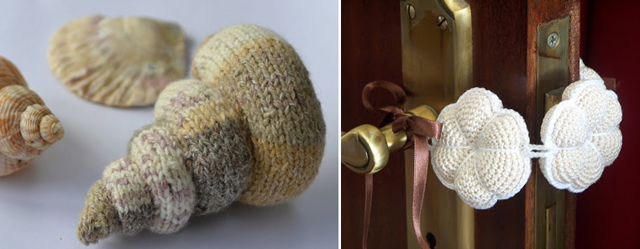 Knit sea shell,door slam quieter