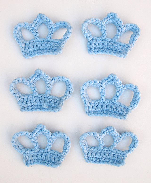Crocheted Crown Ornaments lined up