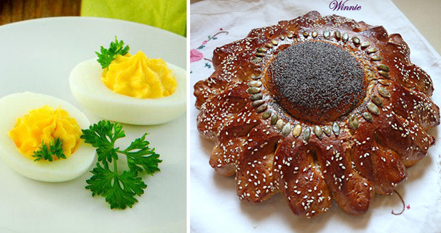 Flower shaped challah,deviled eggs