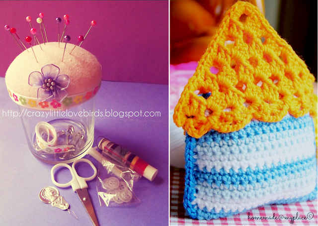 Pin cushion jar,crocheted house sachet