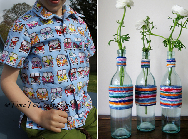 Camper van shirt,crocheted vase sleeves