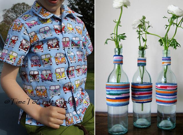 Camper van shirt,crocheted vase sleeves