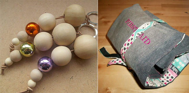 First aid roll kit,wooden bead keychain