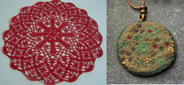 Felted pendant,doily
